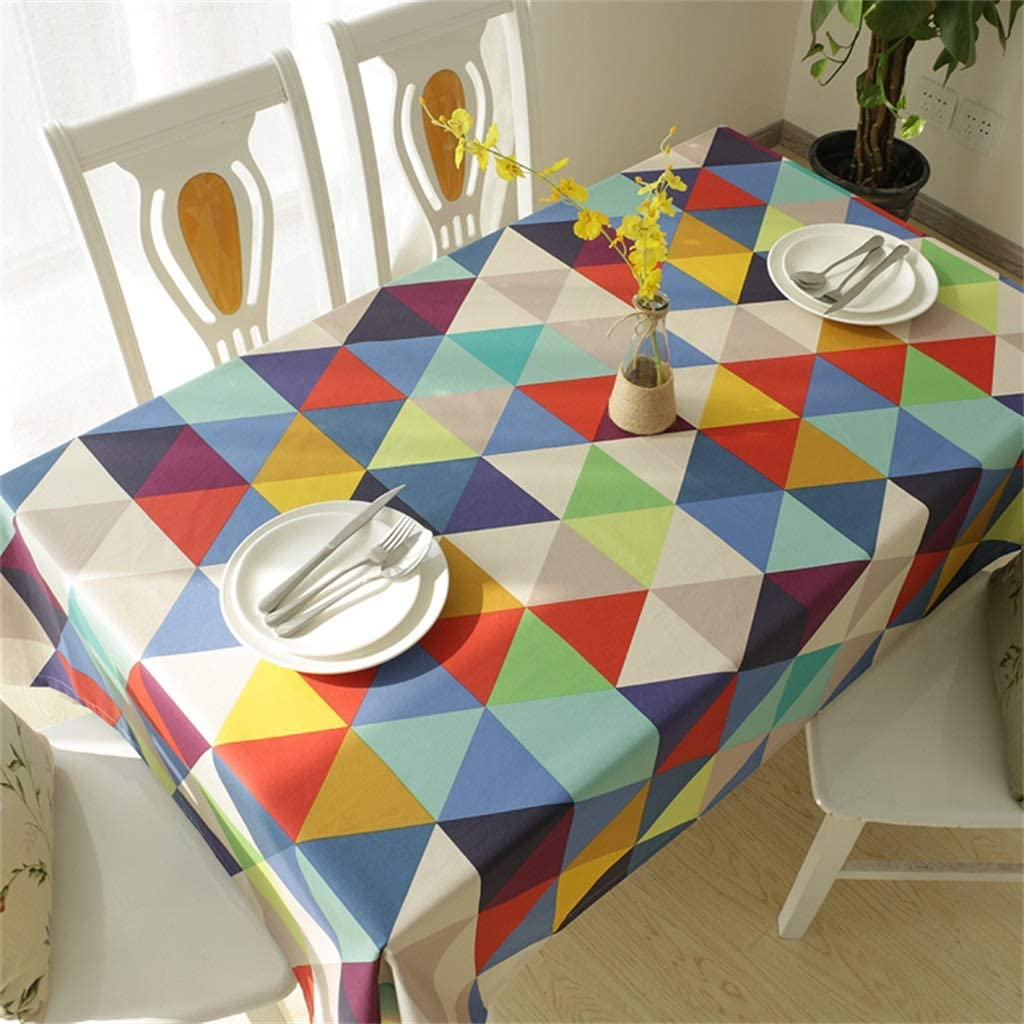 New Tablecloth Cotton and Linen Long Square Household Tea Table Mat Restaurant Tablecloth Round (Color : Plaid, Size : W140L140CM)