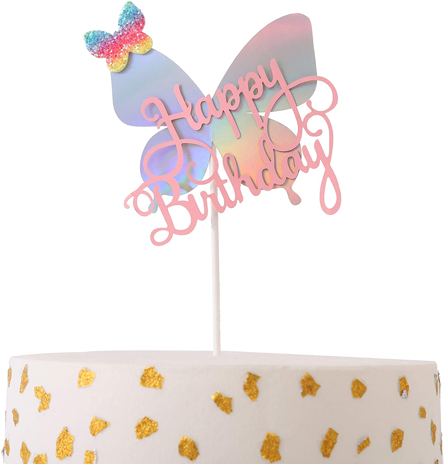 Happy Birthday Topper for Cake - One Cake Topper Birthday Decoration - DIY Happy Birthday Cake Topper - Butterfly Cake Toppers Happy Birthday - Cake Decorations,Cake Flag Photo Props (Pink)