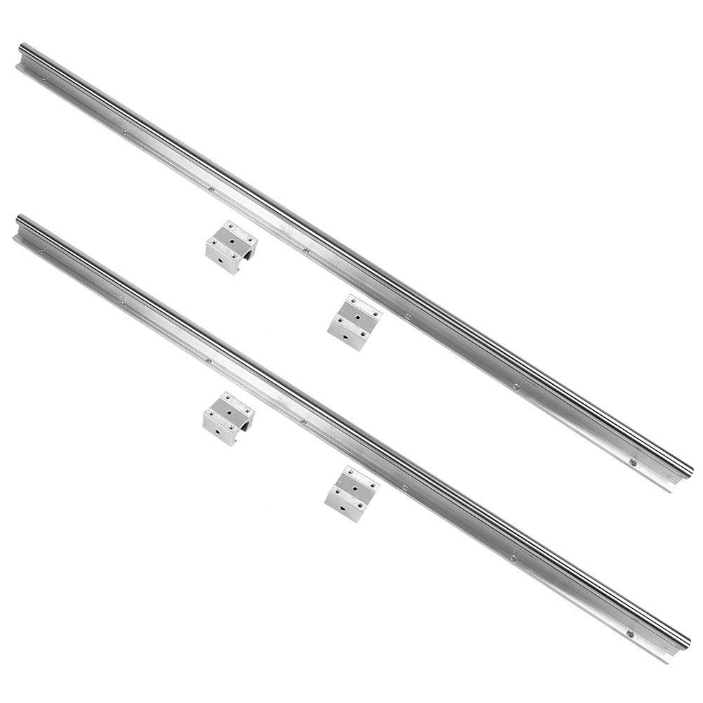 Linear Slide Rail Shaft, 2pcs SBR16-1000mm Linear Slide Rail Shaft + 4pcs SBR16UU Baring Slide Block