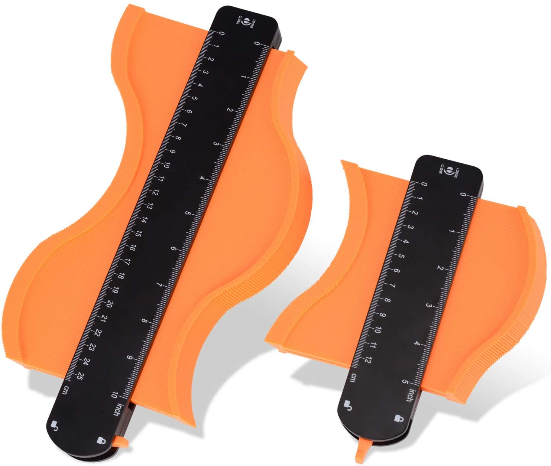 "Contour Duplicator Tool, Contour Gauge with Lock, 5""& 10"" Widen Profile Gauge, Precisely Copy Irregular Shape Duplicator -Must Have Tool For DIY Woodworking, Handyman, Flooring"