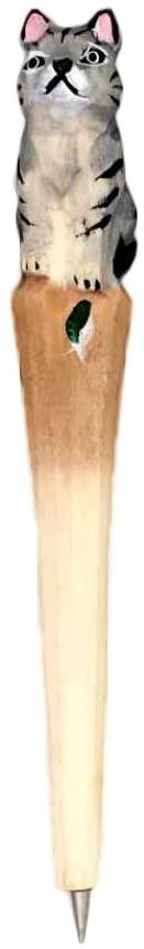 Ornerx Wooden Animal Carving Ballpoint Pen Fat Cat 1PC
