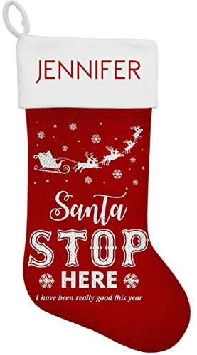 Dinkleboo Personalized Sequin Christmas Stockings Festive Designs Will Brighten Your Holidays! Perfect for Kids, Adults and The Young at Heart! – (15 3/4