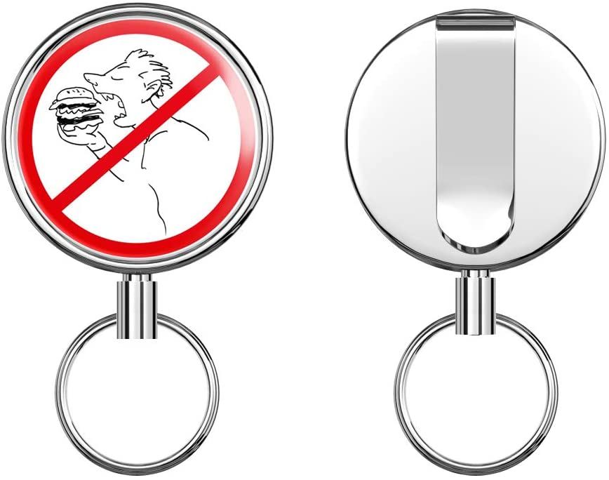 Ban Stop Sign No Food Retractable Badge Holder Reel Metal ID Badge Holder with Belt Clip Key Ring for Name Card Keychain