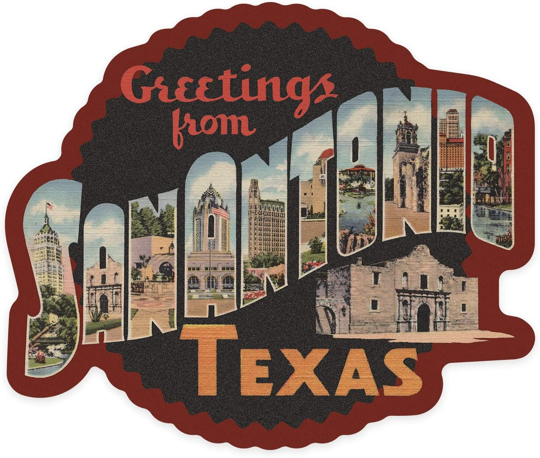 San Antonio, Texas - Greetings - Big Letter Scene - Contour - Vintage Postcard 99259 (Vinyl Die-Cut Sticker, Indoor/Outdoor, Large)