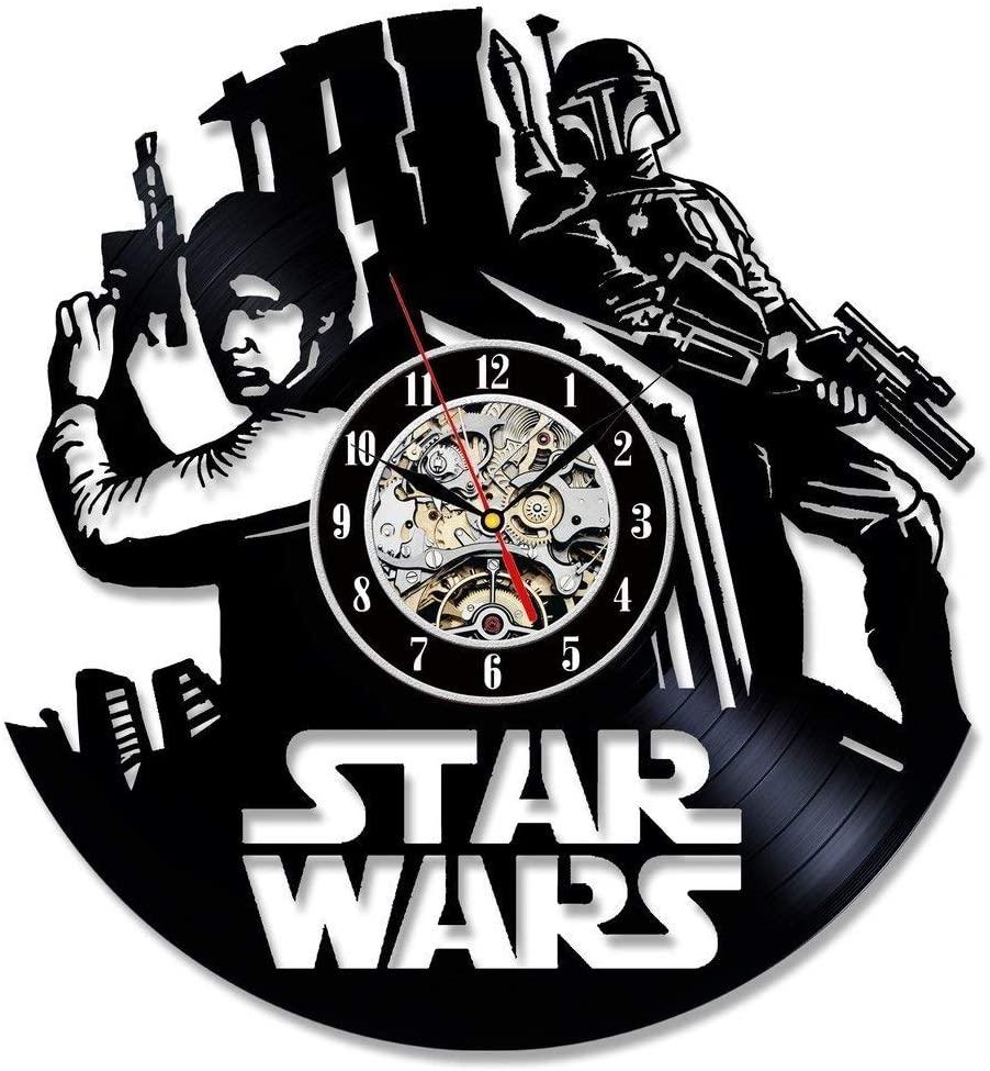 La Bella Casa Star Wars Han Solo Design Art Wall Clock Vinyl Wall Clock - Get Unique Wall Home Decor - Gift Ideas for Him and Her - Original Handmade Vintage Gift