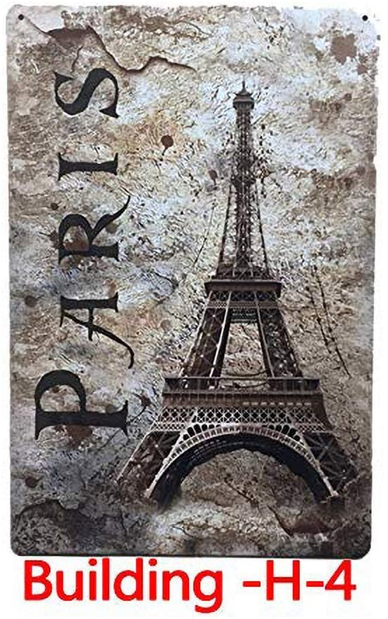 The Eiffel Tower in Paris Souvenir Iron Painting Wall Vintage tin Sign Nostalgic Ornaments Metal Poster Art Decor for Bar Cafe Store Home Garage(30 x 20 cm)