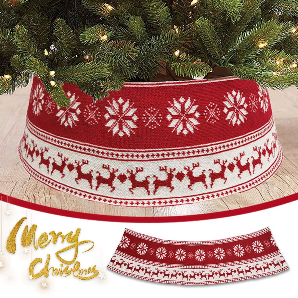 【New Christmas Tree Skirt】Merry Christmas Tree Skirt Acrylic Top Grade Knitted Christmas Tree Skirt Apron Christmas Tree Ornament,for Xmas Holiday Party Supplies Christmas Decorations, Winter New Year House Decoration Supplies 61x71x27cm (1PC Pattern D)