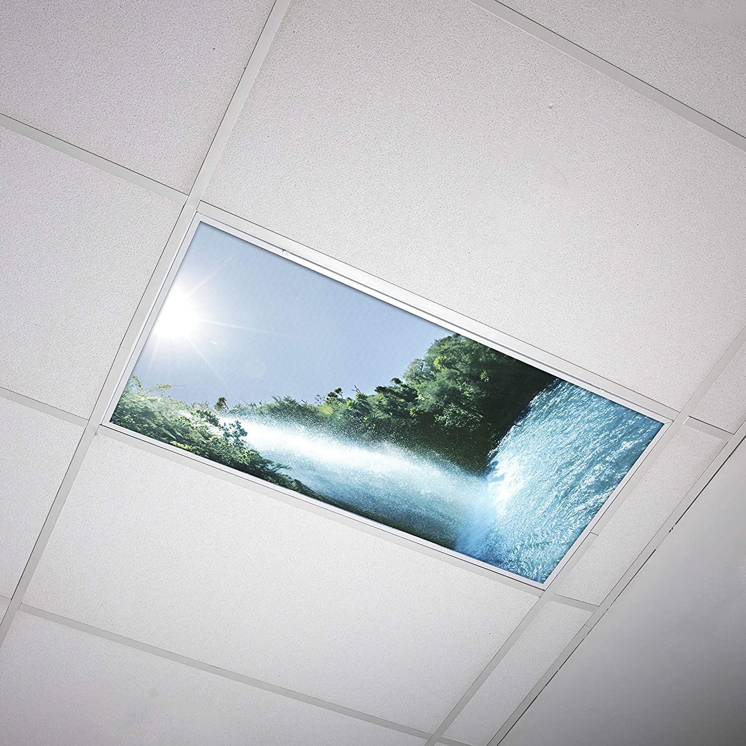 Octo Lights - Fluorescent Light Covers - 2x4 Flexible Decorative Light Diffuser Panels - Waterfall - for Classrooms and Offices - Waterfall 008