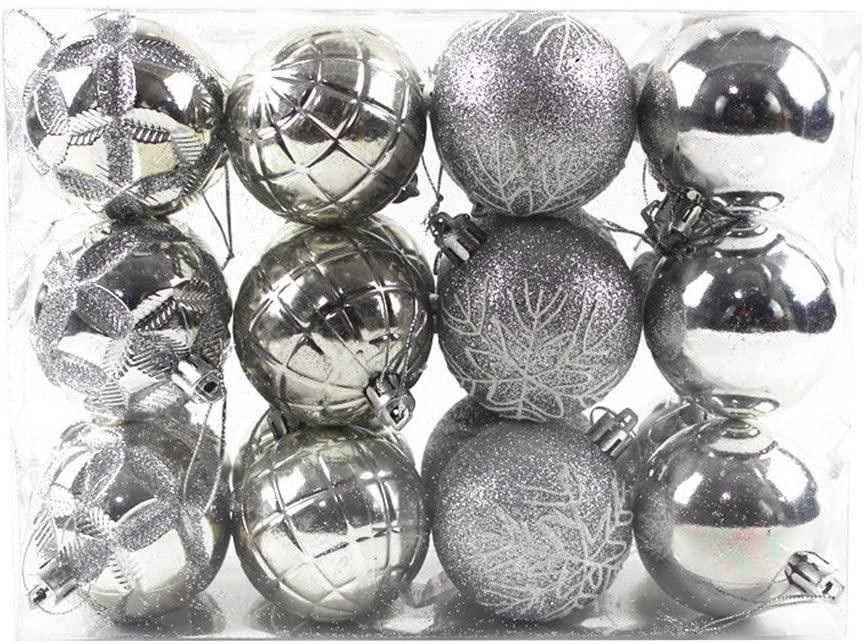 "Christmas Ball Ornaments, Christmas Decorations Tree Balls,Tree Ornaments Hooks Shatterproof Christmas Tree Decorations Hanging Ball for Holiday Wedding Party Decoration (60mm/2.36"", 24Pcs Silver)"