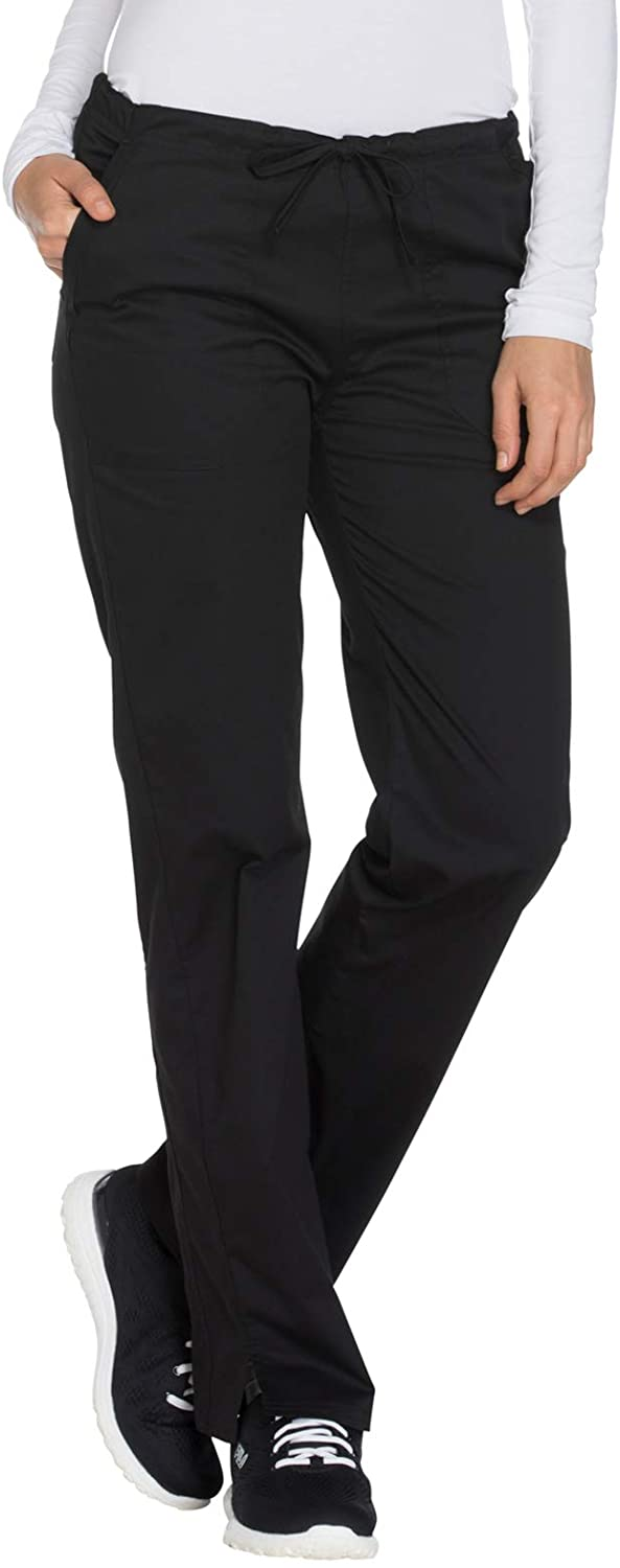 Cherokee Workwear Core Stretch Mid Rise Straight Leg Drawstring Scrub Pant, S, Black