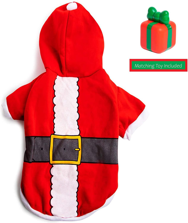 Santa Christmas Pet Costume with Random Squeeky Toy, Dog Christmas Clothes, Christmas Dog Toys, Dog Christmas Sweater, Dog Tutu, Pet Clothes, Christmas Dog Clothes, Dog Apparel