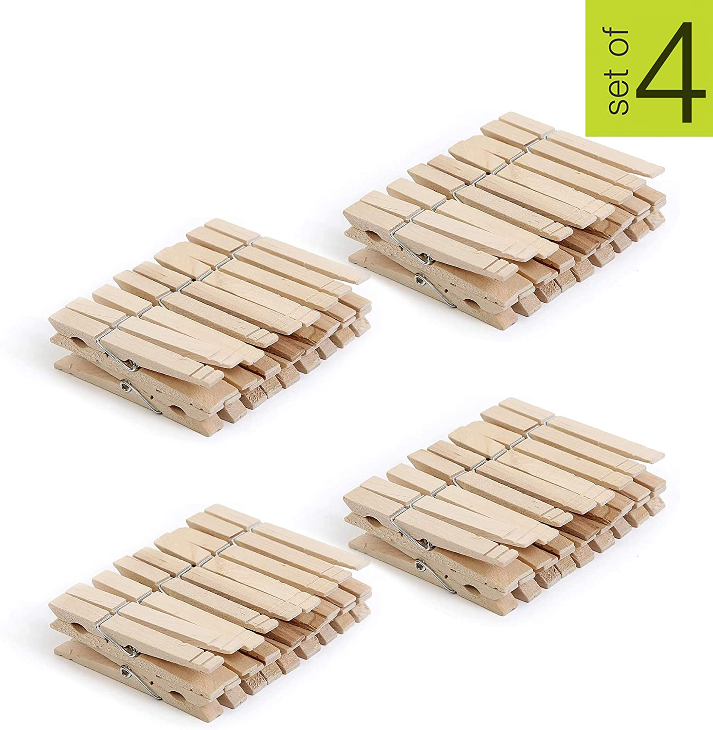 Smart Design 4-Coil Heavy Duty Wooden Clothespins - Non Staining Hardwood Peg Pins - Close Wire Springs - Drying, Hanging, Clothes, Laundry & Linens - Home (3.3 x 0.8 Inch) (108 Pack)