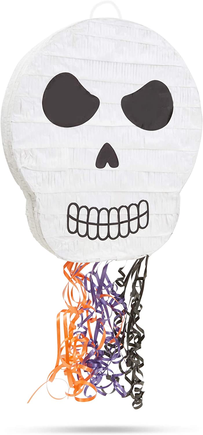 Small Day of the Dead Skull Pinata for Halloween Party, Pull String (13 x 15 x 3 In)