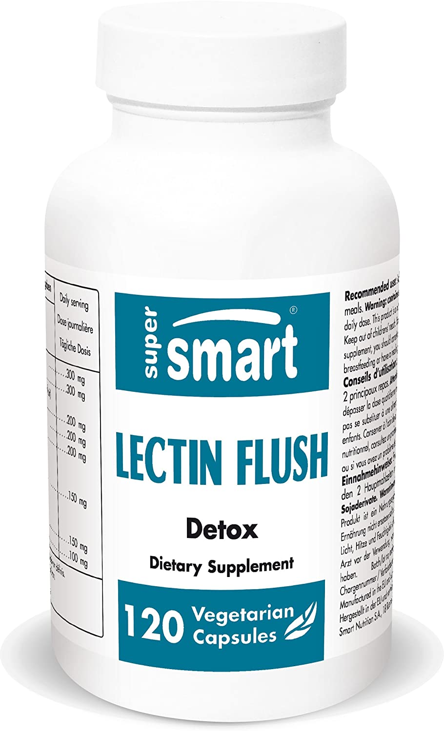 Supersmart - Lectin Flush - Support for Food Allergies & Intolerances - Promote Healthy Digestive Tract - Detox Supplement | Non-GMO & Gluten Free - 120 Vegetarian Capsules