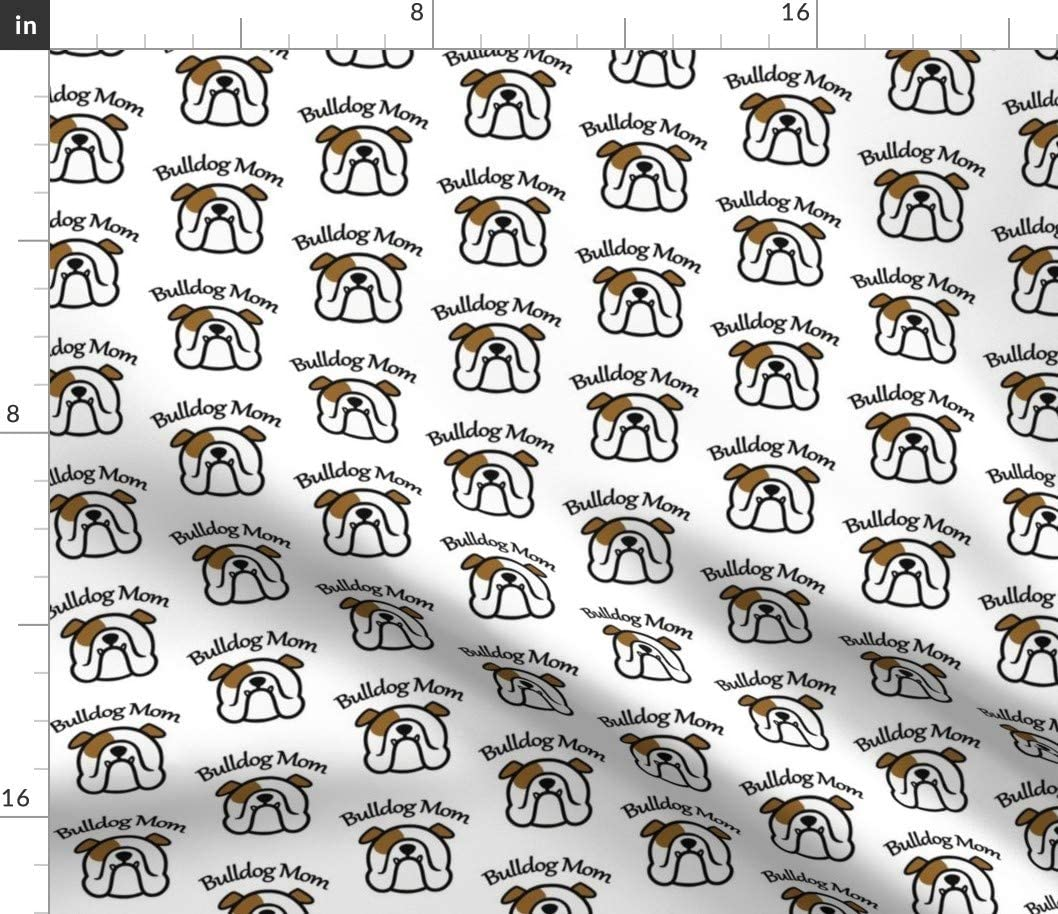 Spoonflower Fabric - English Bulldog Mom Lady Dog Pattern Face Silhouette Printed on Petal Signature Cotton Fabric by The Yard - Sewing Quilting Apparel Crafts Decor
