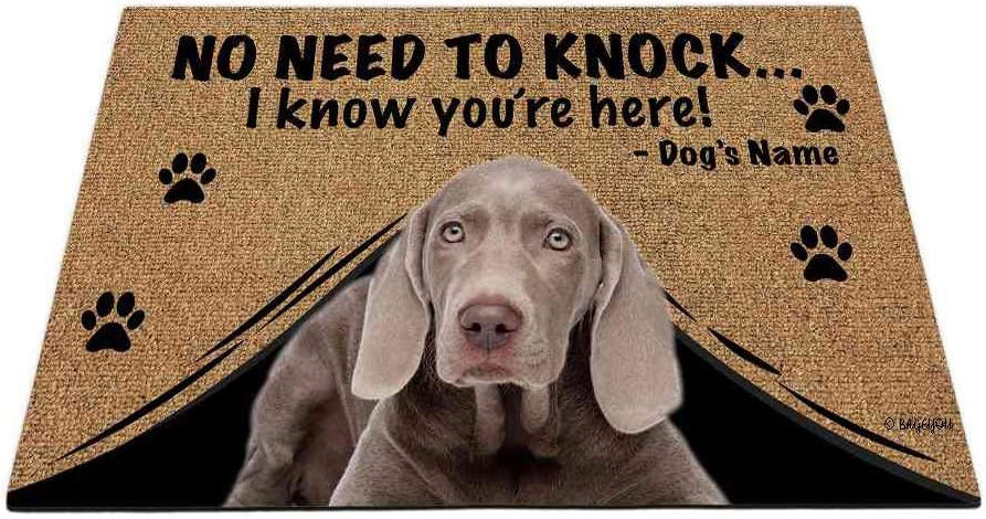 BAGEYOU Personalized Dog's Name Outdoor Doormat with My Love Dog Weimaraner Welcome Floor Mat Not Need to Knock I Know You're Here 27.5