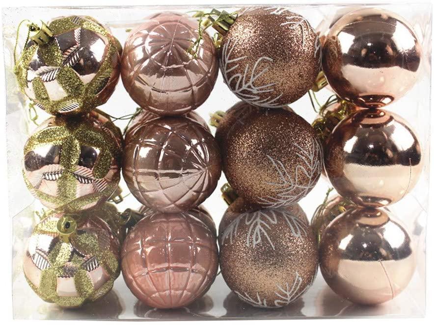 "Christmas Ball Ornaments, Christmas Decorations Tree Balls,Tree Ornaments Hooks Shatterproof Christmas Tree Decorations Hanging Ball for Holiday Wedding Party Decoration (60mm/2.36"", 24Pcs Rose Gold)"