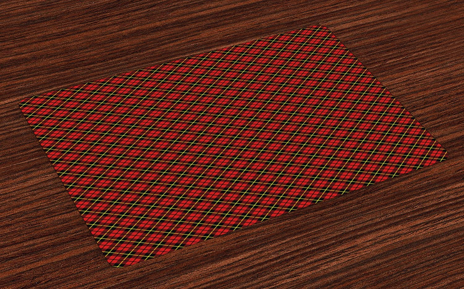 Lunarable Geometric Place Mats Set of 4, Traditional Scottish Plaid Pattern Tartan Tile Checked Striped Retro Print, Washable Fabric Placemats for Dining Room Kitchen Table Decor, Red Black Yellow