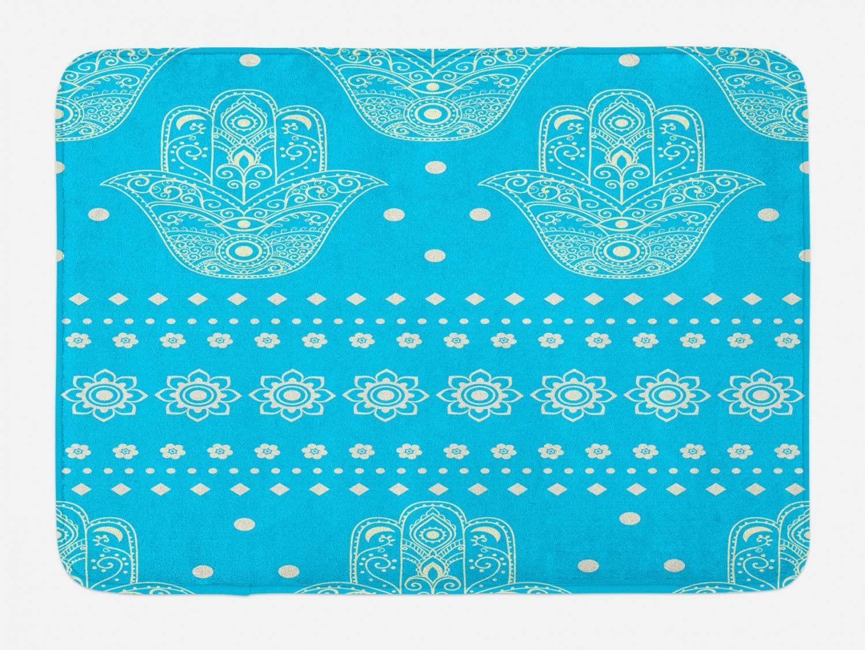 Ambesonne Hamsa Bath Mat, Theme Hamsa Hands Geometric and Floral Pattern Evil Eye Protection, Plush Bathroom Decor Mat with Non Slip Backing, 29.5