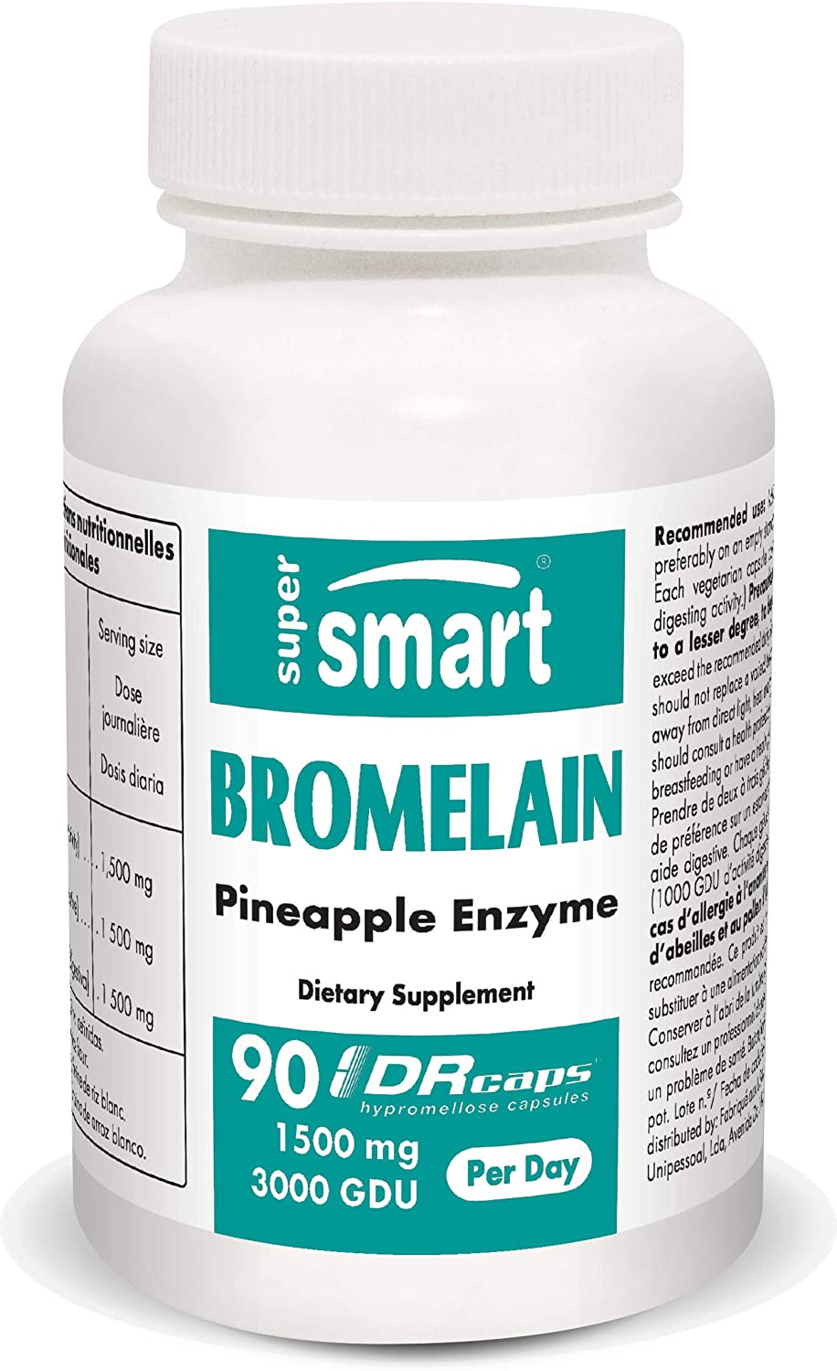 Supersmart - Bromelain 1500 mg 3000 GDU Per Serving - Enzymes Extracted from Pineapple Roots - Anti Inflammatory Supplement & Digestive System Booster | Non-GMO & Gluten Free - 90 DR Capsules