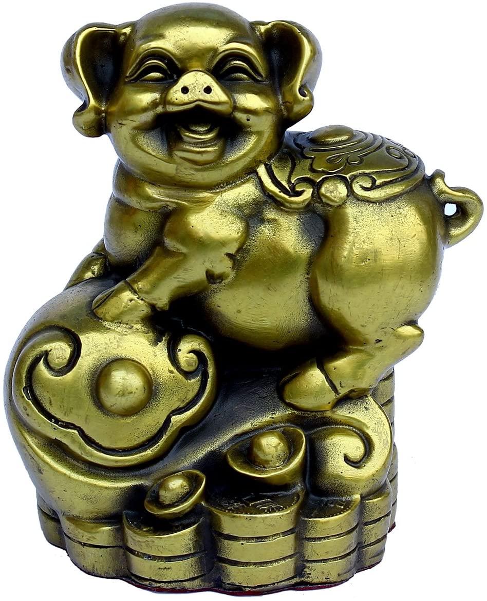 Handmade Chinese Zodiac Series- Brass Pig Figurine Home Decor Gift