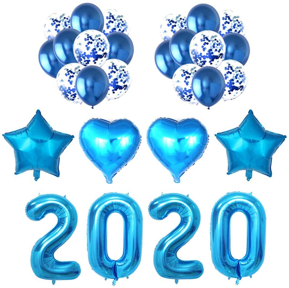 Amosfun Happy New Year Balloons Kit 2020 Party Decorations Balloons New Years Eve Party Supplies 28pcs Blue