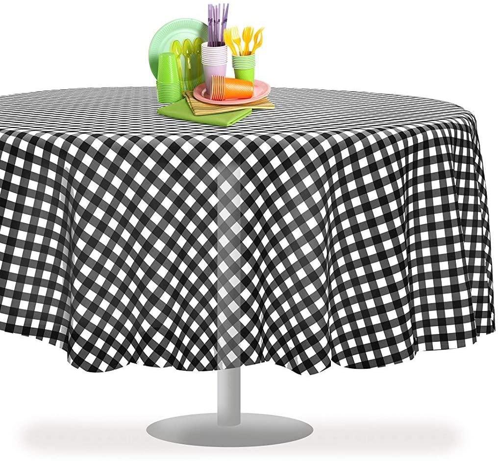 Aincanlx Black Checkered Gingham 6 Pack Premium Disposable Plastic Tablecloth 84