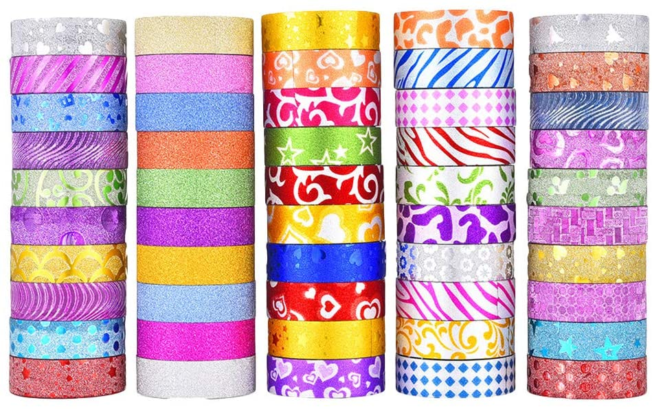 Toyvian Glitter Gold Paper Tape for Wedding Scrapbook Decoration DIY Adhesive Tape Floral Gift Box Package Ribbon 50 Roll (Mixed Style)