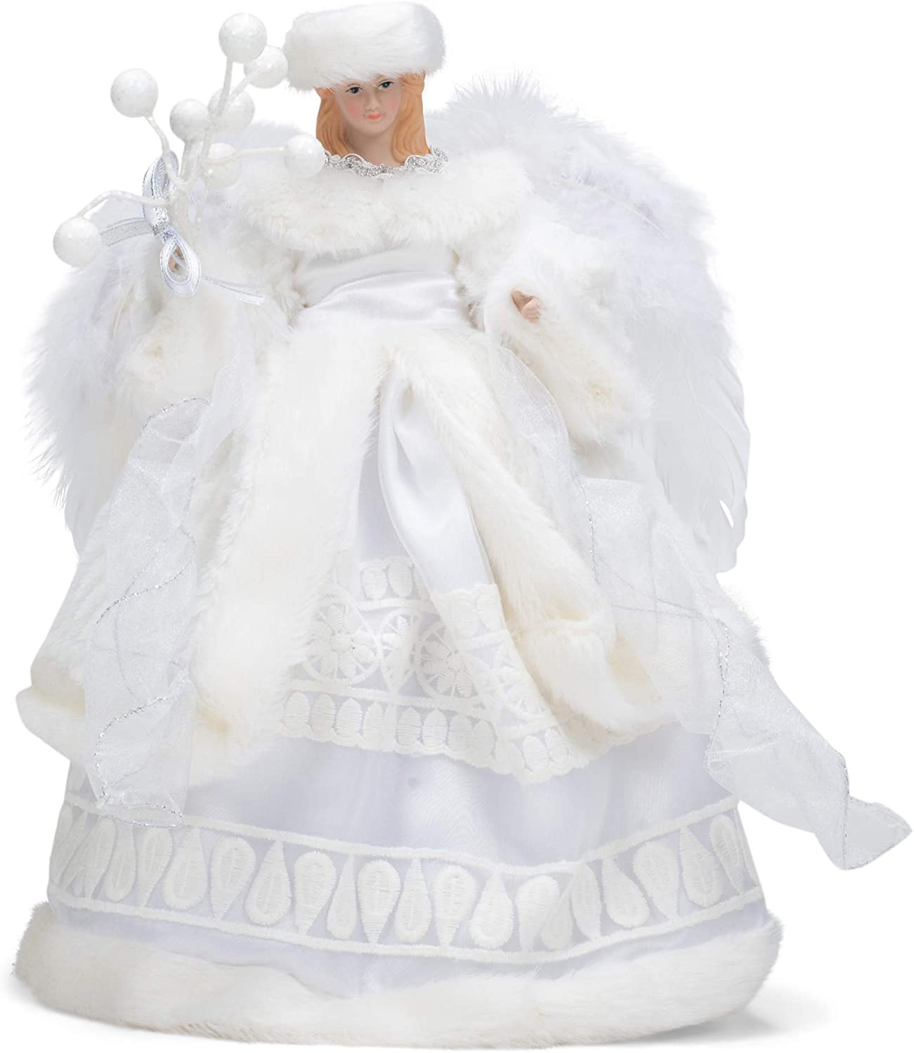 Roman 13-inch Angel White Gown and Fur Hat Treetopper