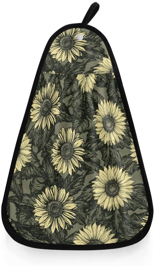 senya Vintage Sunflowers Hand Towel, Hanging Loop Washcloths Hand Cleaning Towels Fast Drying Super Absorbent