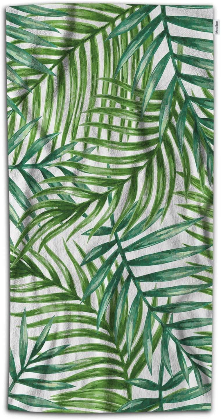 Moslion Palm Leaf Bath Towel Watercolor Palm Leaves Tree in Tropical Rainforest Jungle Towel Soft Microfiber Baby Hand Beach Towel for Kids Bathroom 32x64 Inch Green