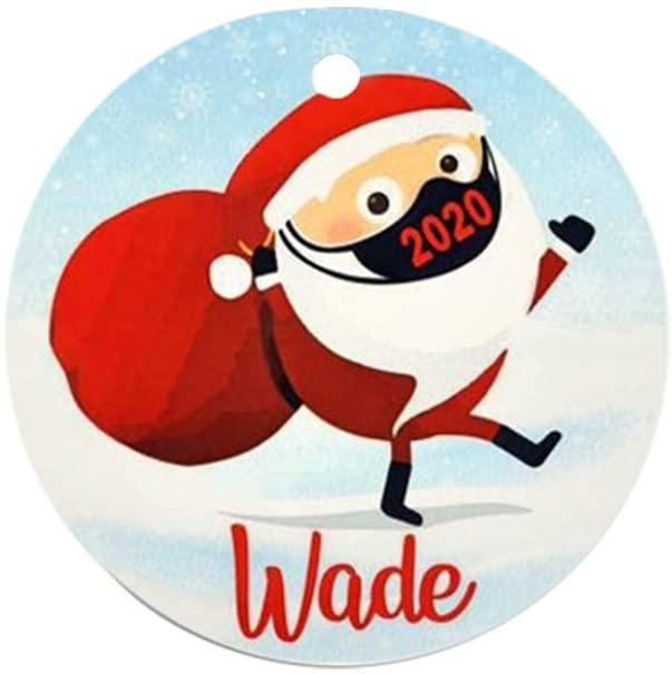 RINGMOHD 2020 Christmas Ornaments Friends Gift, Holiday Xmas Tree Decorations Ornament, Social Distancing Funny Novelty, Wood Holiday Decor (Multicolor-C)