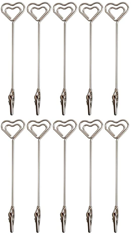 SUPVOX 10pcs Place Card Holders Double End Wire Card Holder Metal Wire Alligator Clamp Photo Clip for Christmas Decoration Silver Heart