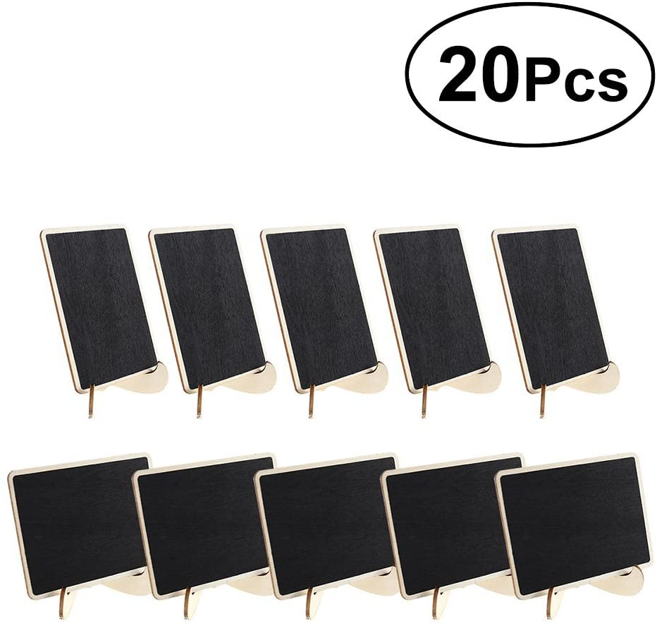 VOSAREA 20pcs Mini Chalkboards Wooden Blackboard Message Board with Support for Message Board Signs Wedding Dinner Party Table Place Card Signs - Right Angle Square