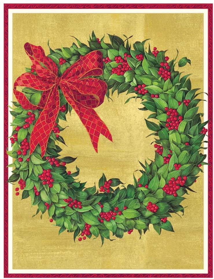 Caspari Wreath Large Boxed Christmas Cards - 16 Cards & Envelopes
