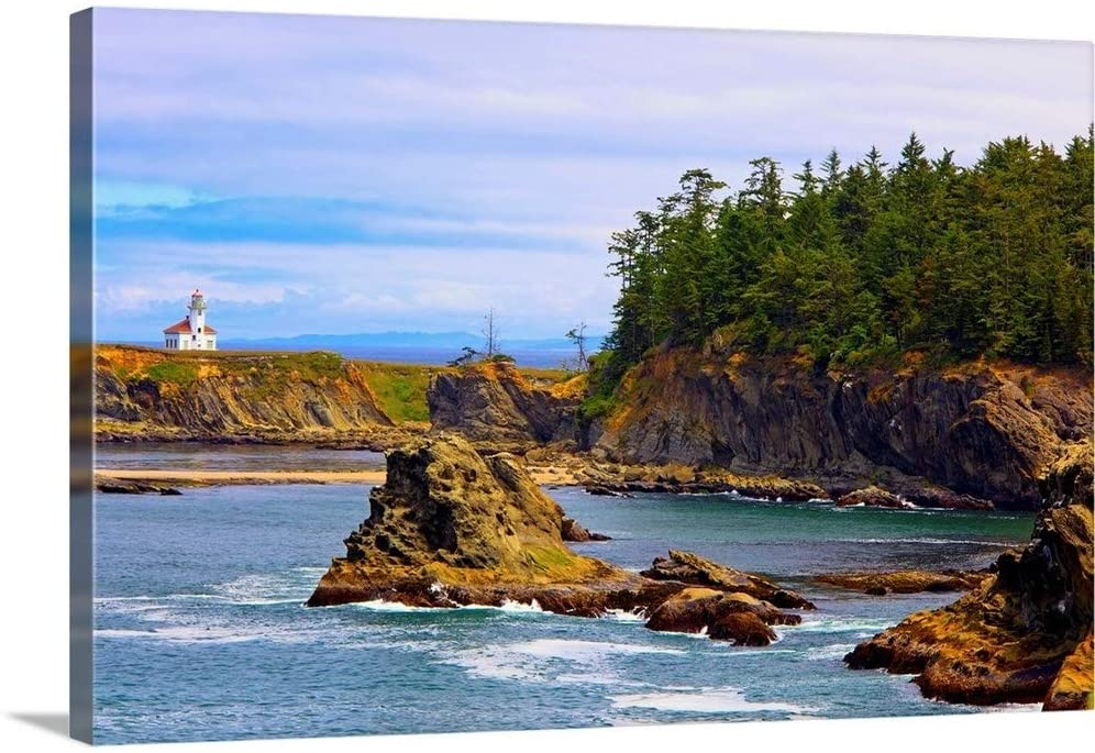 Cape Arago Lighthouse at Shore Acres State Park at Coos Bay; Oregon, USA Canvas Wall Art Print.
