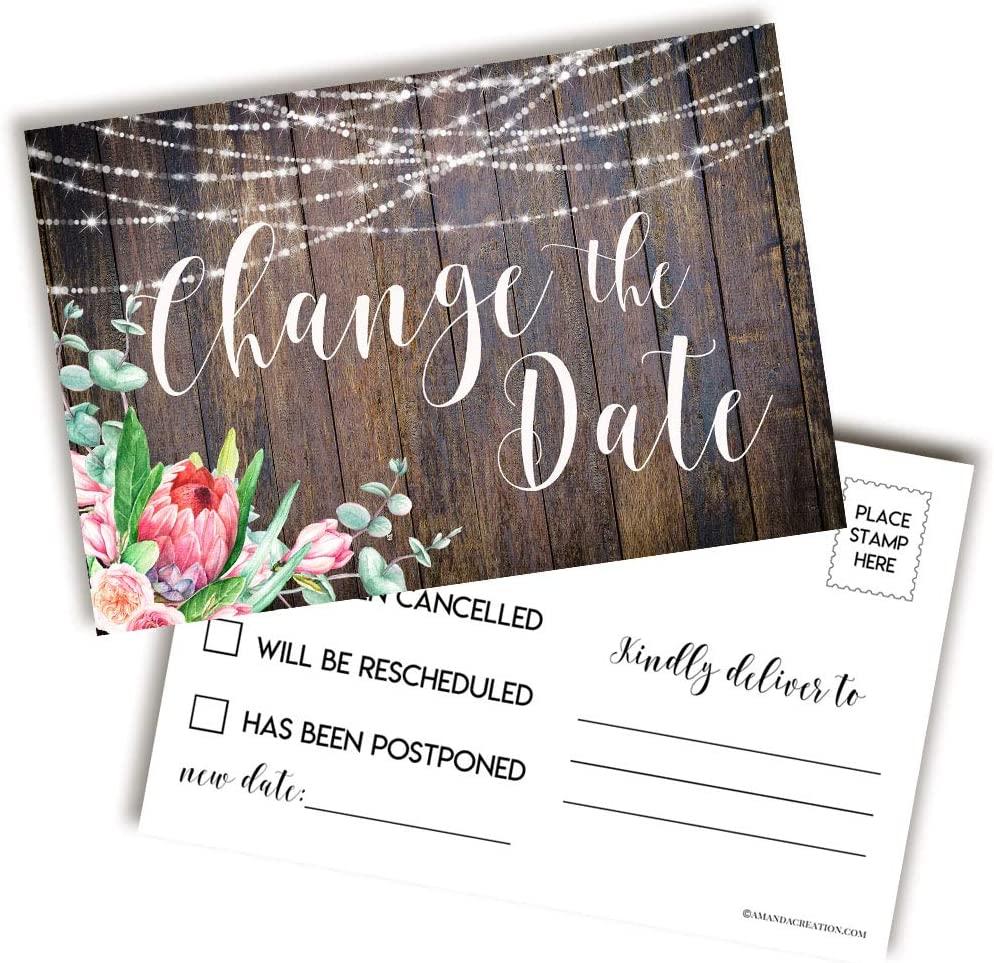 Rustic Floral Change of Plans Postcards, 20 4