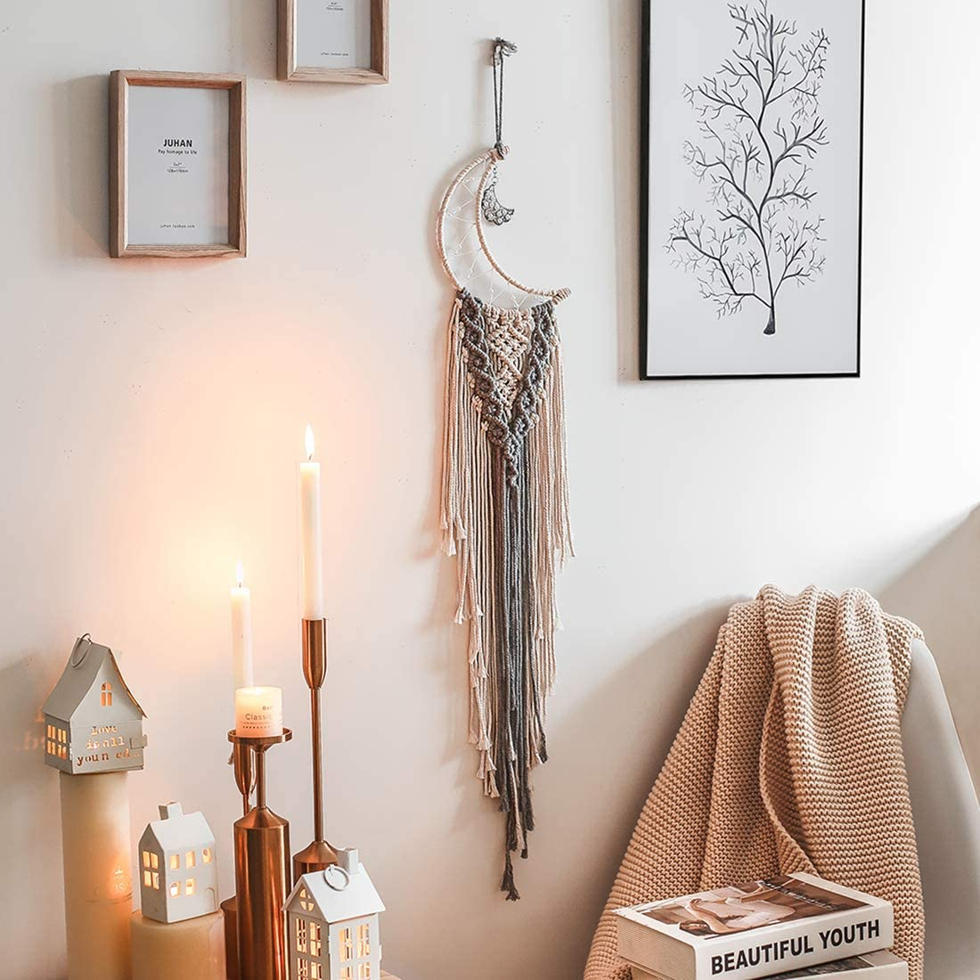 Nicekojo Beige&Grey Macrame Wall Hanging Moon Dream Catchers Boho Handmade Woven Tapestry Home Decor for Kids Room Party Wedding Decoration Ornament Craft Gift