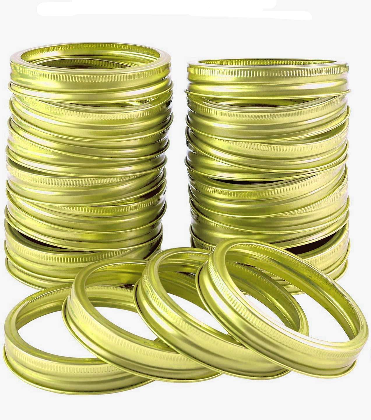 Kampo 24 Pack Regular Mouth Mason Jar Lids Bands,Reusable Metal Split-type Sealing Lids Ring for Canning Jars DIY Mason Jar Lids (70 mm, Gold)