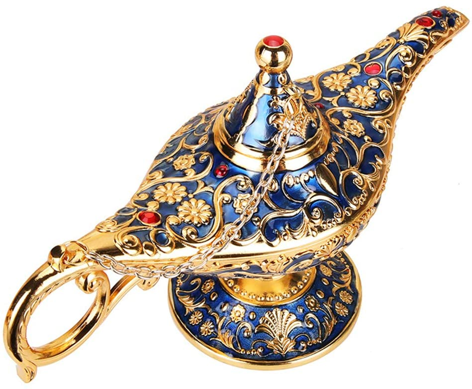 WEISIPU Aladdin Magic Genie Lamps - Classic Vintage Collectable Magic Genie Light Lamp for Home Table Decoration/ Party/ Halloween/ Birthday ( Gold-Blue)
