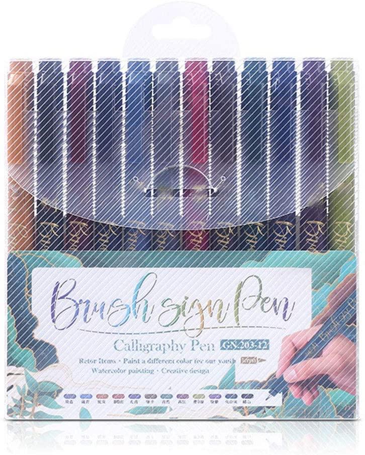 FEIlei Marker, 12 Color Calligraphy Marker Brush Pen Small Regular Script Art Drawing Signature