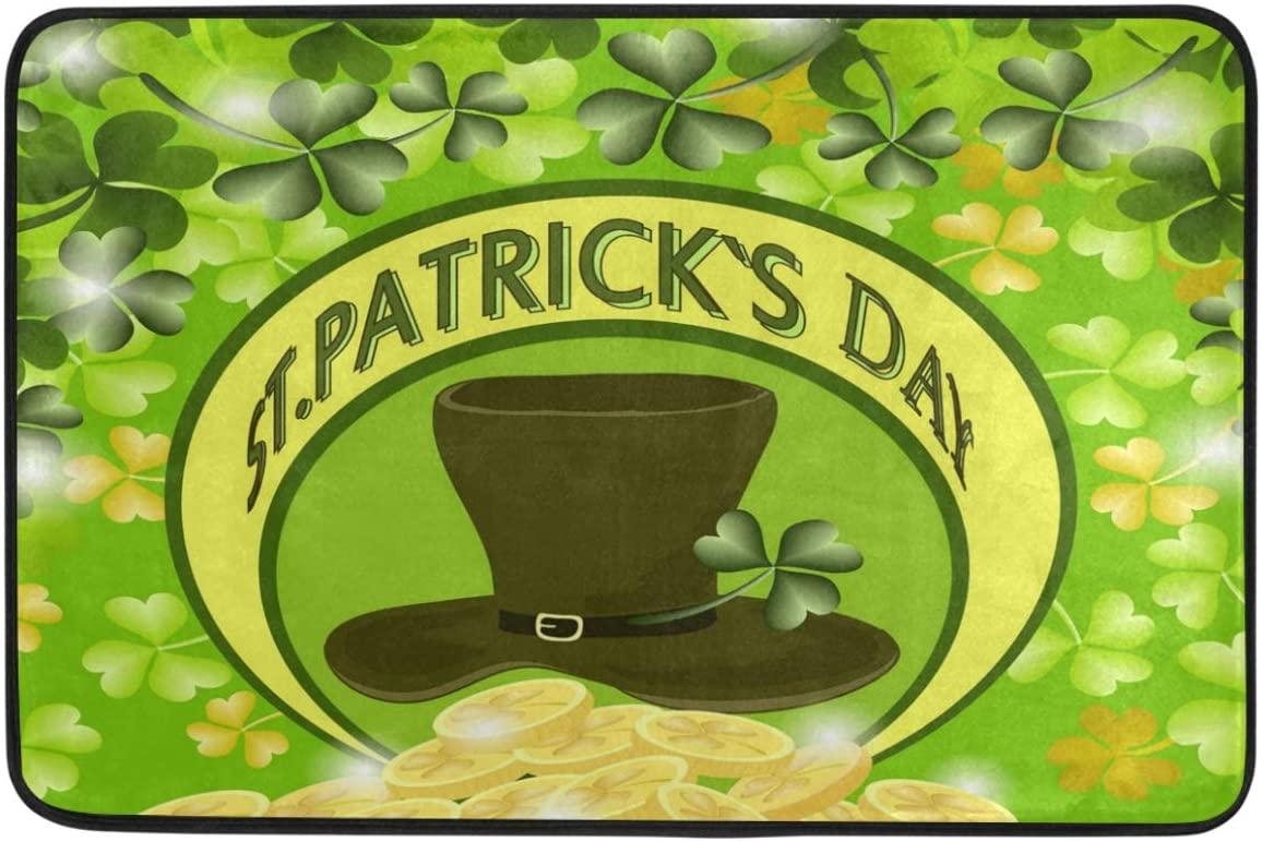 St.Patrick's Day Decoration Doormat Home Decor Shamrock Clovers Leprechaun Top Hat Golden Coins Welcome Indoor Outdoor Entrance Bathroom Floor Mats Non Slip Washable Hoilday Pet Food Mat, 24x16 inch