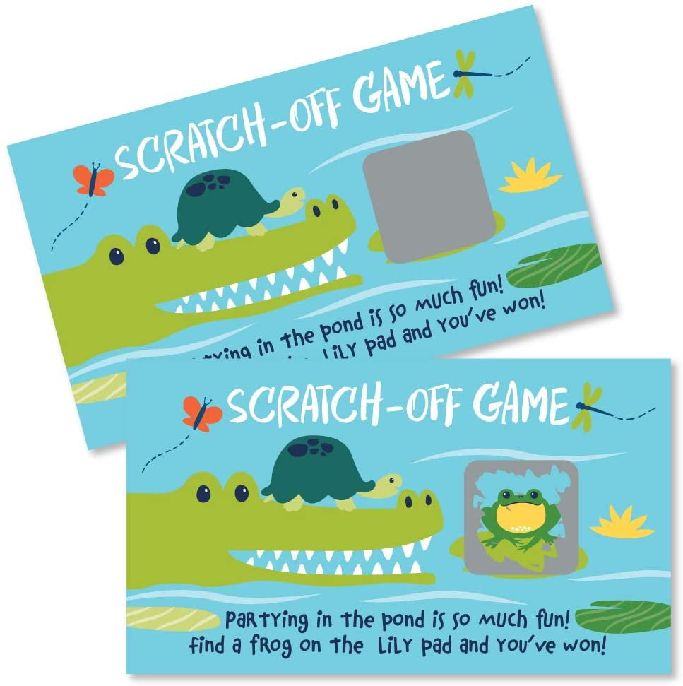 Big Dot of Happiness Pond Pals - Frog, Alligator and Turtle Birthday Party or Baby Shower Game Scratch Off Cards - 22 Count