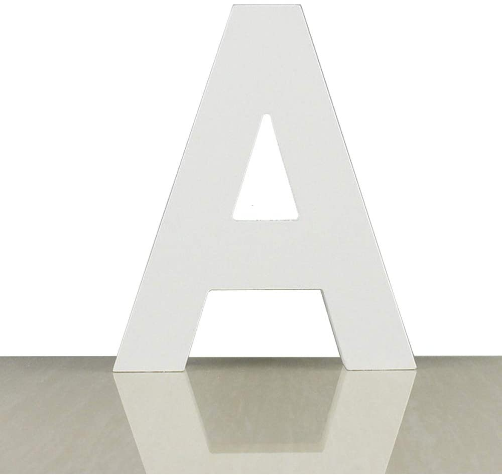 ZOOYOO White Wood Letter A for Decoration Wall Letters Marquee Alphabet DIY White Words Sign Hanging for Home Bedroom Office Wedding Party Decor