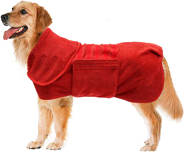 Geyecete Dog Drying Coat -Dry Fast Dog Bag - Dog Bathrobe Towel - Microfibre Fast Drying Super Absorbent Pet Dog Cat Bath Robe Towel,Luxuriously Soft,
