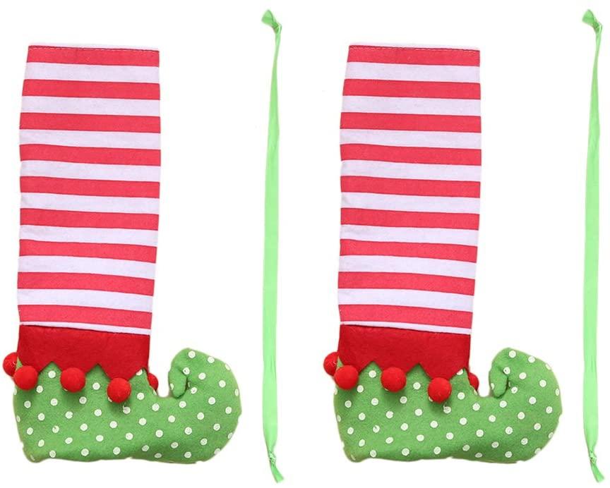 BESTOYARD Christmas Chair Leg Covers Table Leg Covers Stripes Elf Feet Shoes Legs Party Decorations Favors Table Decoration 2PCS