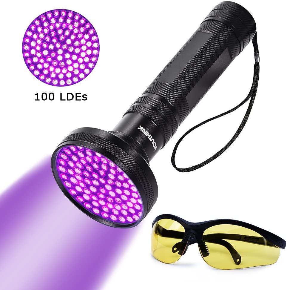 UV Blacklight Flashlight with UV Sunglasses, Super Bright 100 LED 18W 395nm Portable Blacklight Ultraviolet Detector Flashlight for Scorpions, Home & Hotel Inspection, Pet Urine & Stain Detection