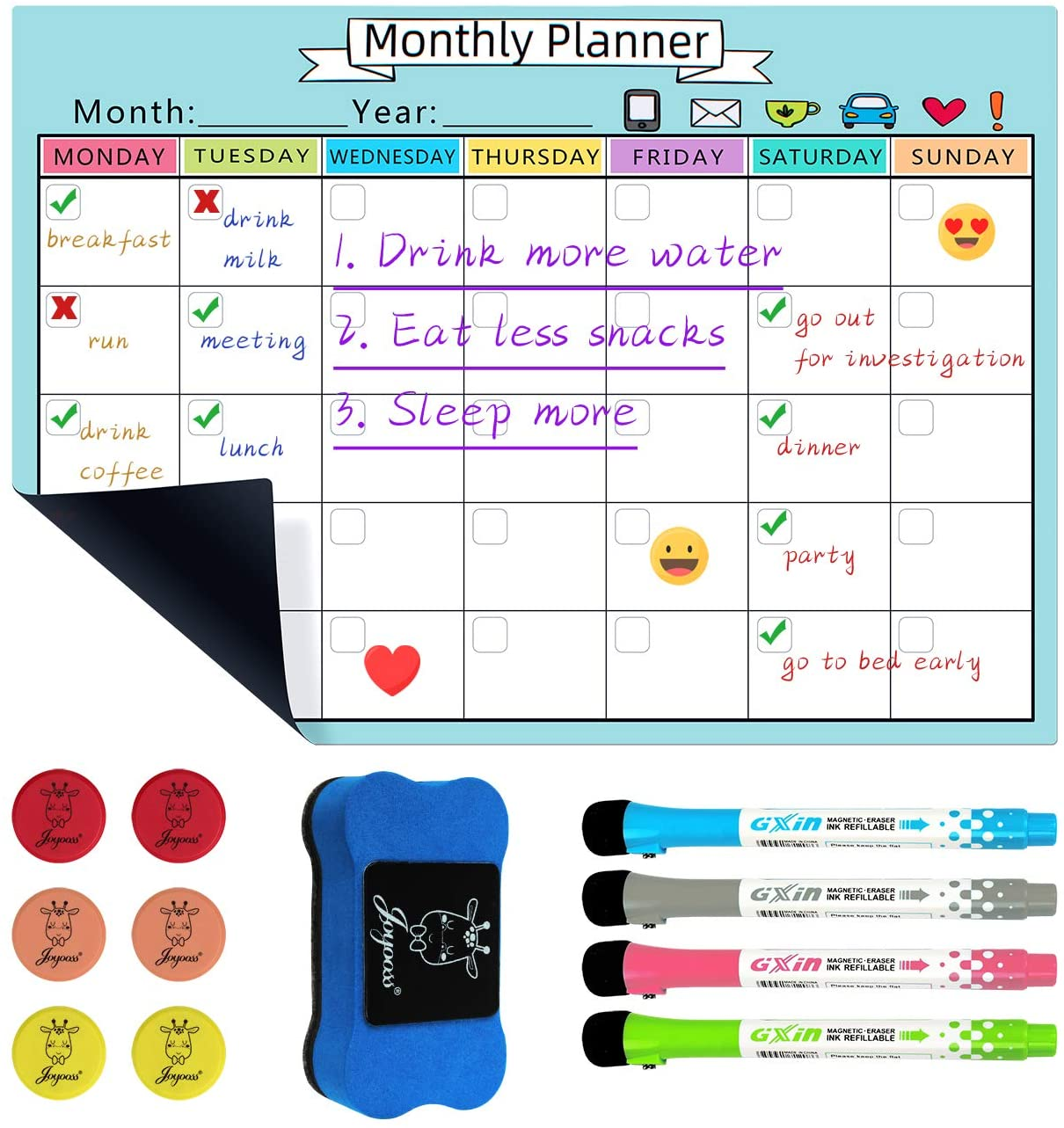 JOYOOSS Magnetic Dry Erase Calendar Whiteboard Sheet Monthly Planner 12 x 17 inch with Markers, Eraser & Magnets