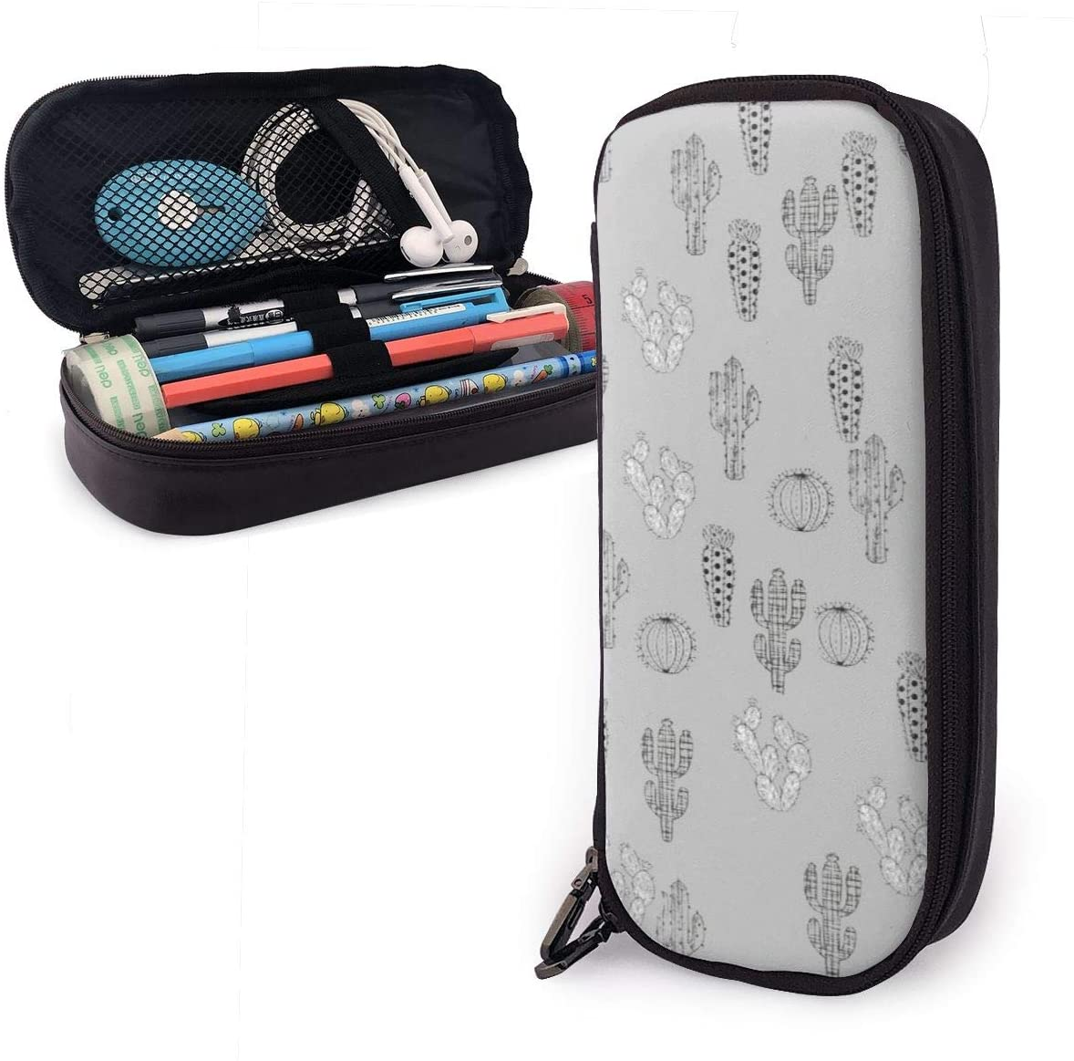 XUJ YOGA High-Grade Waterproof PU Leather Black and White Cactus Grey Pencil Case Big Capacity Pen Case Desk Organizer with Double Zipper for School & Office Supplies - 8x3.5x1.5 Inches