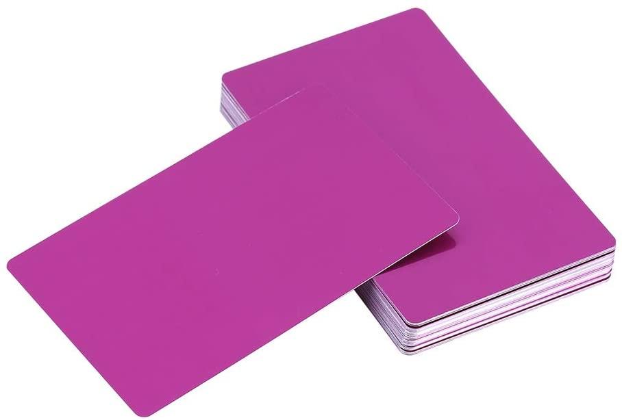 50Pcs Metal Business Cards Blanks for Customer Laser Engraving DIY Gift Cards 5 Colors Optional (Color : Purple)